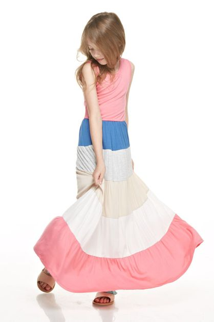 colorblocked sleeve less maxi dress - orangeshine.com