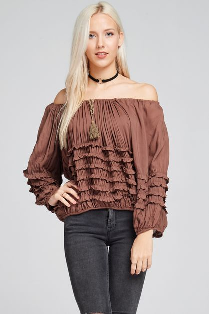 ruffle top with draping detail - orangeshine.com