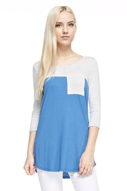 3/4 SLEEVES ROUND NECK SHIRT TUNIC  - orangeshine.com