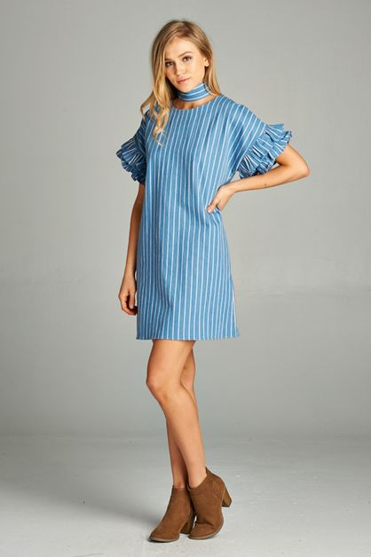 RUFFLE RURY STRIPED DENIM DRESS - orangeshine.com