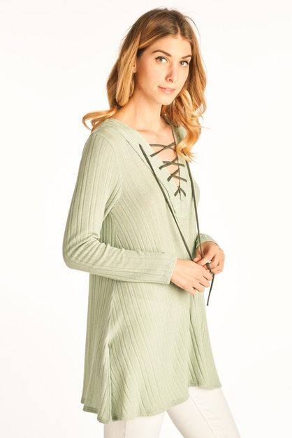 Long Sleeve V Neckline Lace Up Ribbe - orangeshine.com