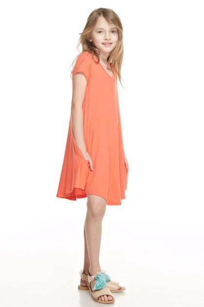 V-neck short sleeve pocket swing dre - orangeshine.com