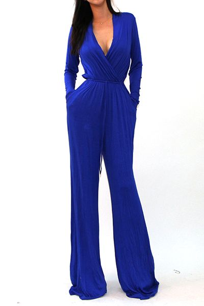 SOLID LONG SLEEVE JUMPSUIT - orangeshine.com