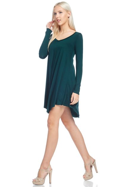 LONG SLV FLARED BOTTOM TUNIC - orangeshine.com