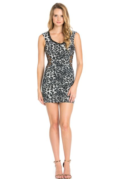 STONE BEADED LEOPARD DRESS - orangeshine.com