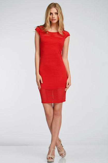 STRIPE MESH KNEE LENGTH DRESS - orangeshine.com