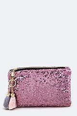 Sequins Pouch With Tassel - orangeshine.com