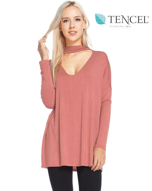 V Line Mock Neck Tencel Top - orangeshine.com