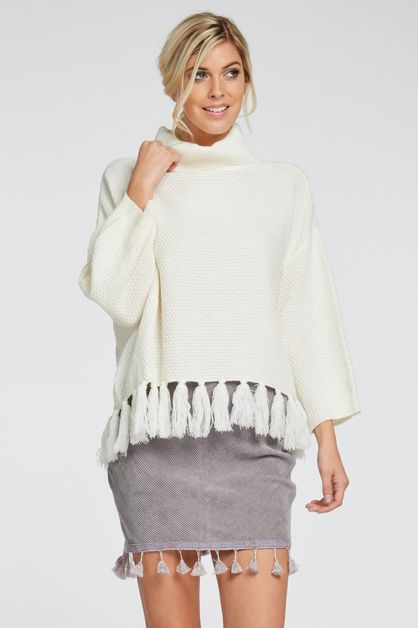 TASSELED COWL NECK SWEATER - orangeshine.com