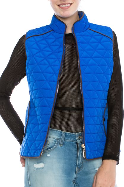 Quilted Piped Detailed Vest - orangeshine.com