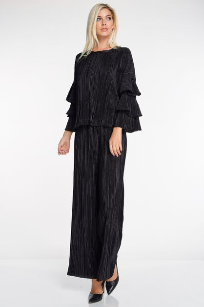 Pleated Bell Sleeve Top And Pant Set - orangeshine.com