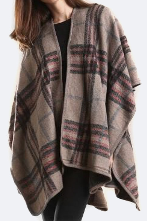 Mad For Plaid Shaped Blancket Shawl - orangeshine.com