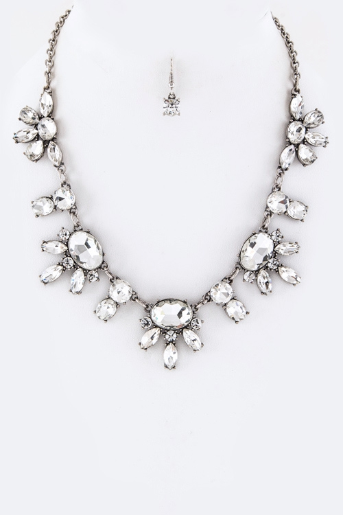 Mix Crystals Statement Necklace Set - orangeshine.com