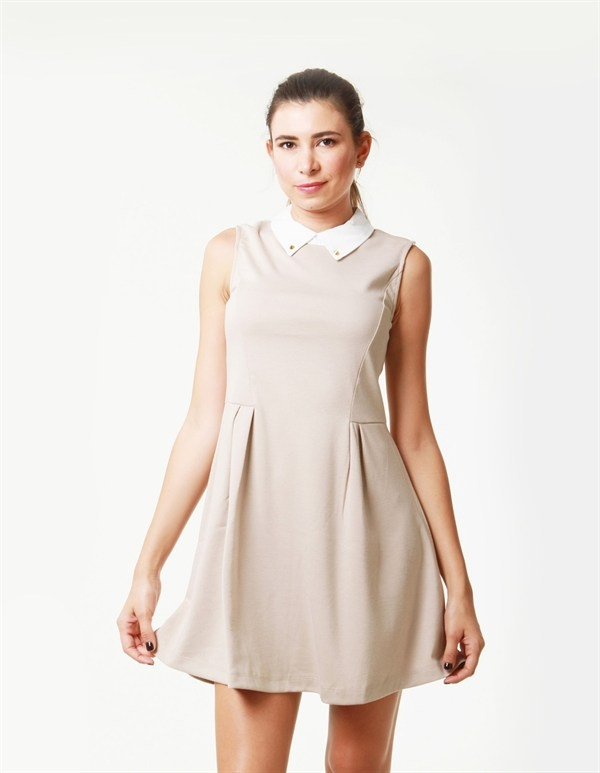 PLEATED SLEEVELESS COLLAR DRESS - orangeshine.com