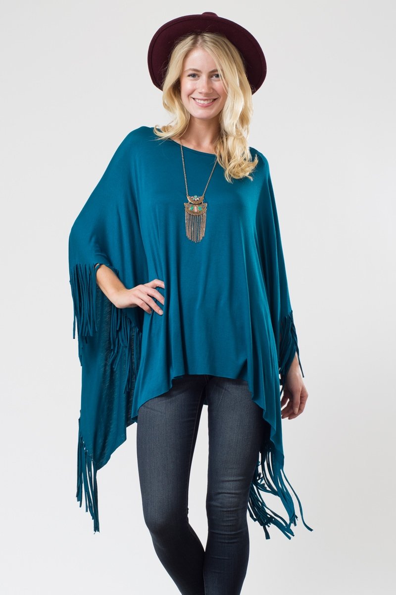 PONCHO WITH FRINGE - orangeshine.com