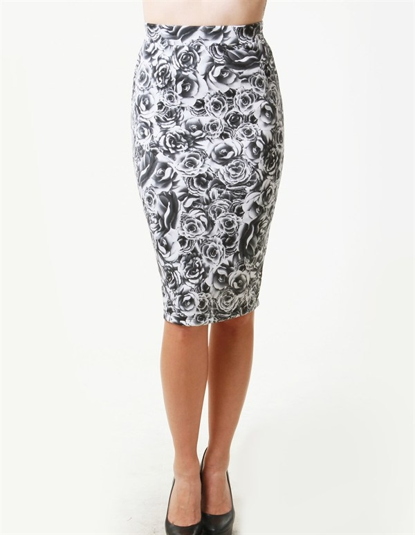 ROSE PRINT MIDI SKIRT - orangeshine.com