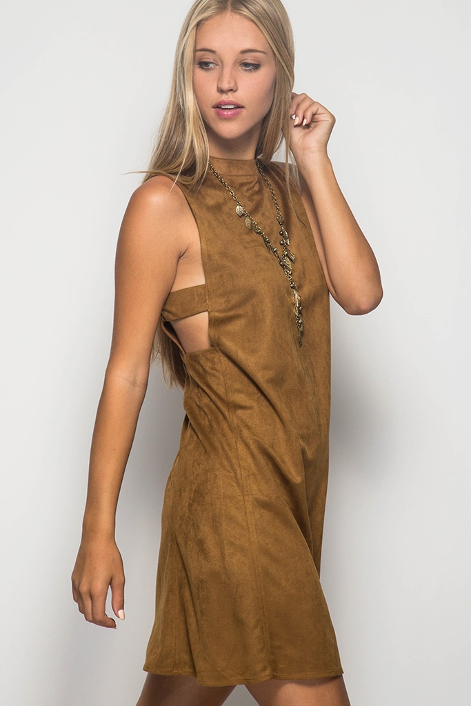 SL2542 - SUEDE SHIFT DRESS - orangeshine.com