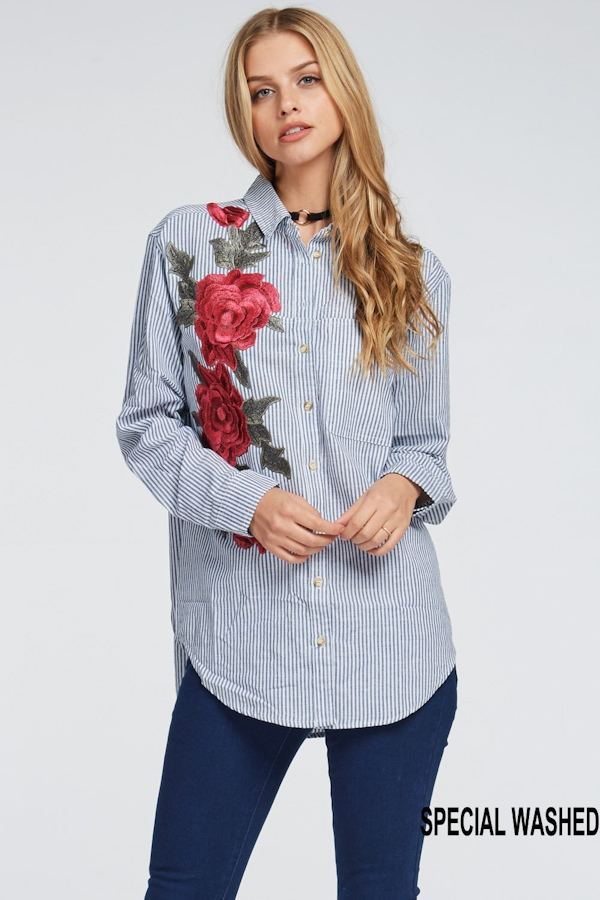 STRIPE COTTON BUTTONDOWN SHIRT - orangeshine.com