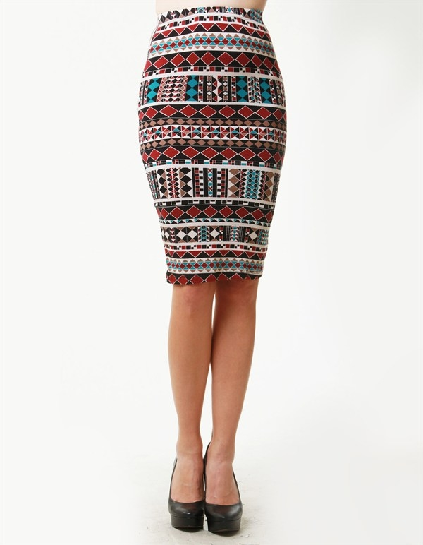 GEOMETRIC TRIBAL PRINT MIDI SKIRT - orangeshine.com
