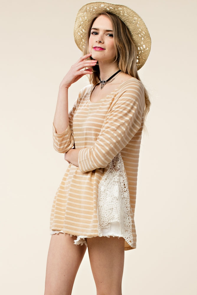 STRIPED TOP WITH LACE DETAIL - orangeshine.com