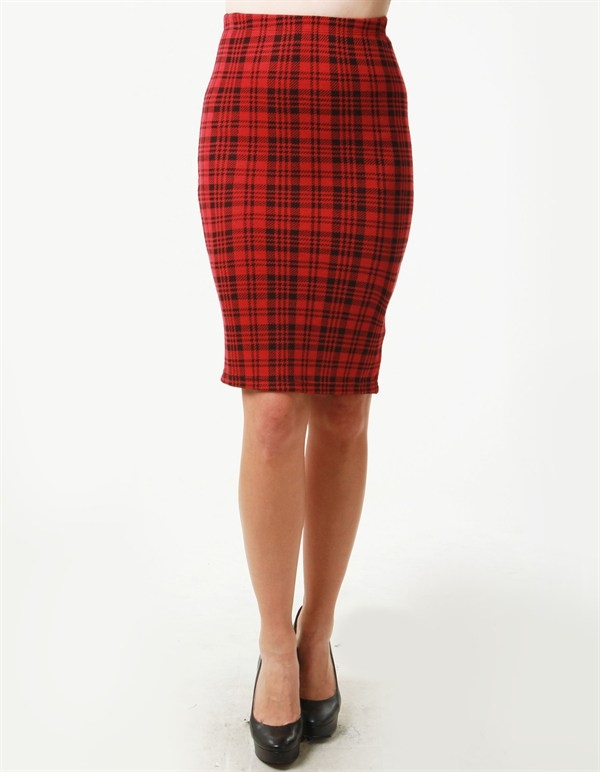 PLAID PRINT MIDI SKIRT  MADE IN USA  - orangeshine.com