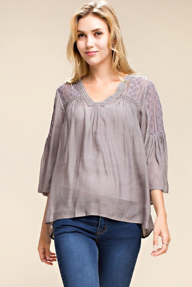 LACE TRIM BELL SLEEVE TOP - orangeshine.com