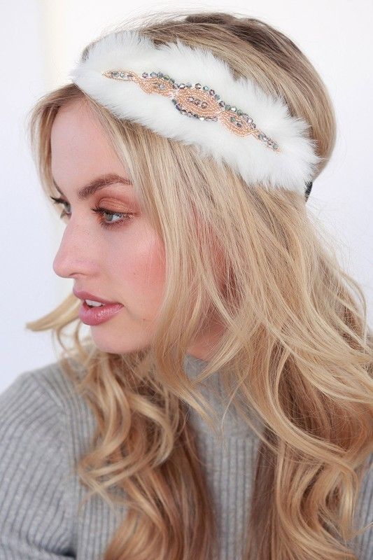 VINTAGE FUR AND BEADS HEADBAND - orangeshine.com