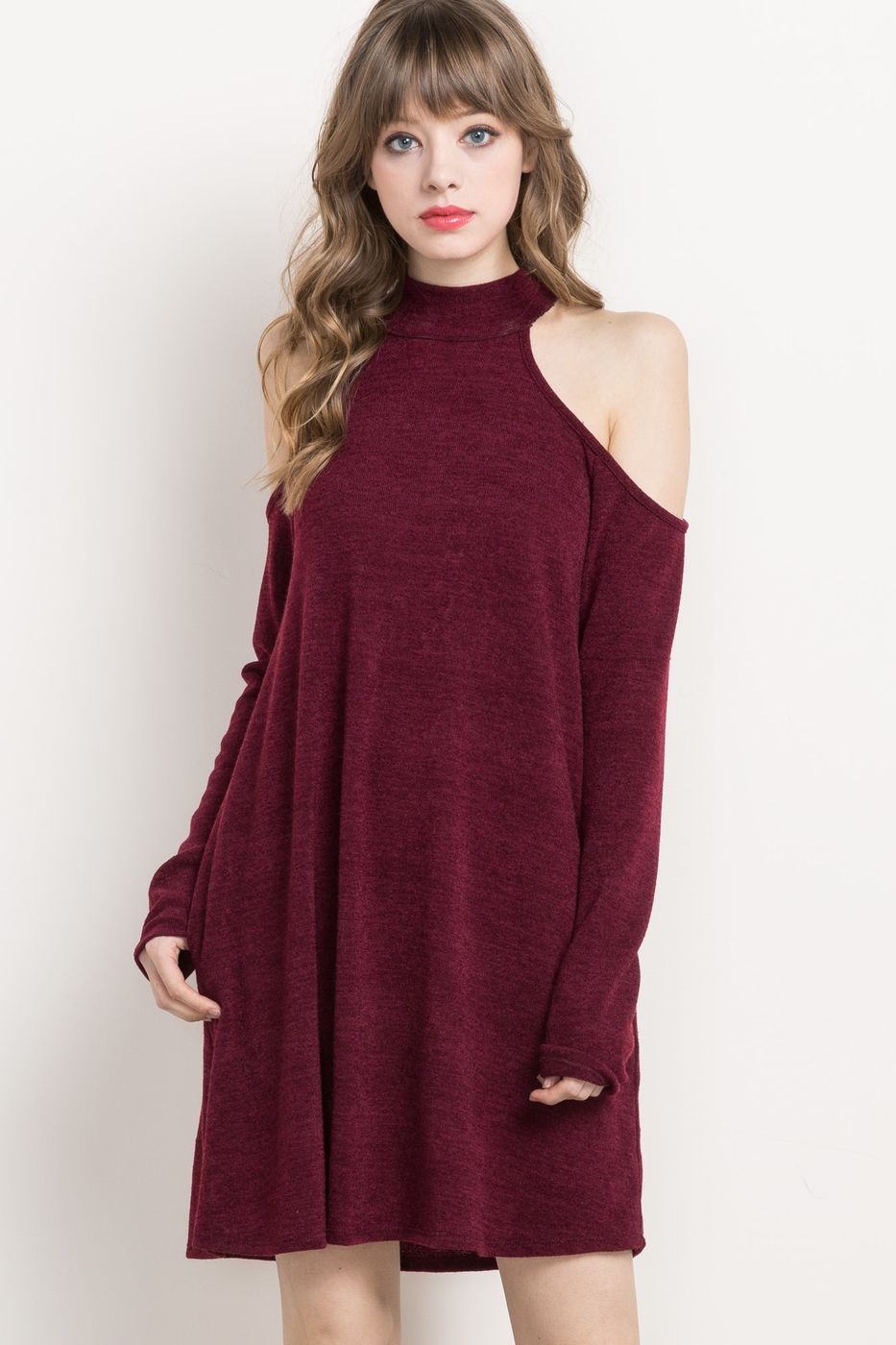 OPEN-SHOULDER HALTER SWEATER DRESS - orangeshine.com