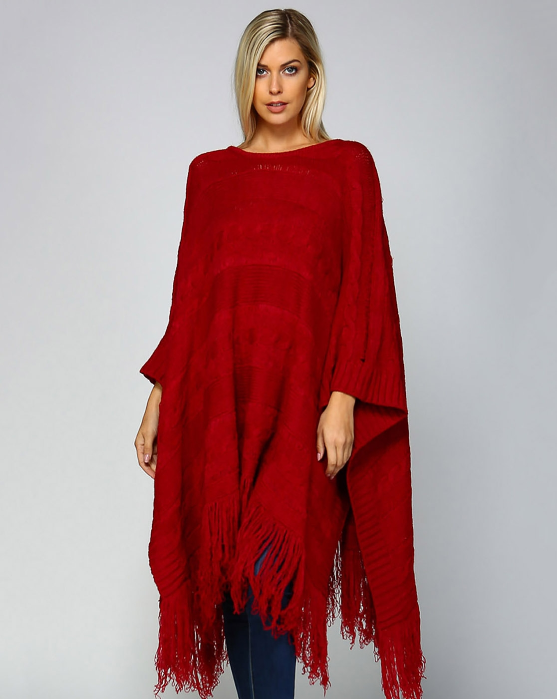 CHUNKY CABLE KNIT PONCHO - orangeshine.com