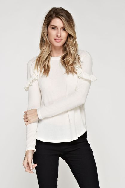RUFFLE SHOULDER DETAILED KNIT TOP - orangeshine.com