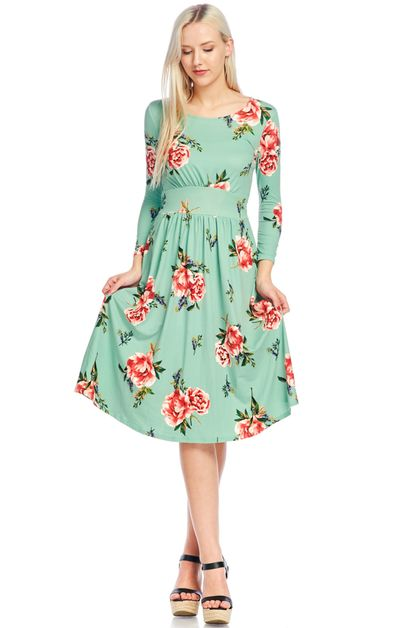 floral A-line dress  - orangeshine.com