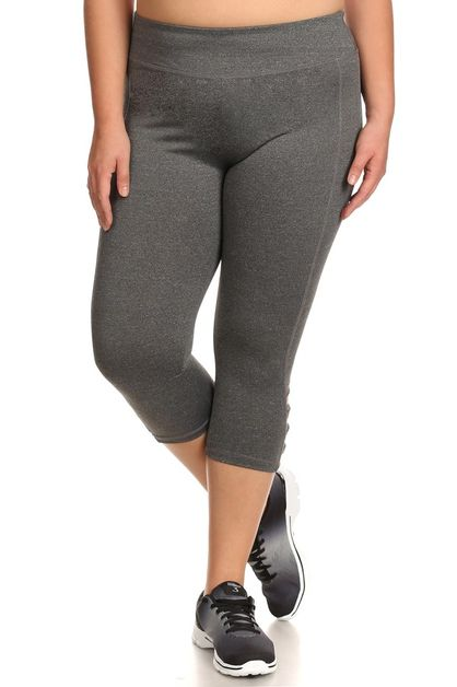 Plus Size Sport Leggings Cutouts  - orangeshine.com