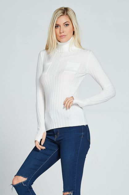 RIBBED LIGHT KNIT TURTLE-NECK TOP - orangeshine.com