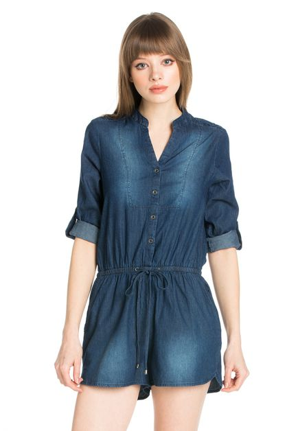 DENIM ROMPER ADJUSTABLE SLEEVE - orangeshine.com