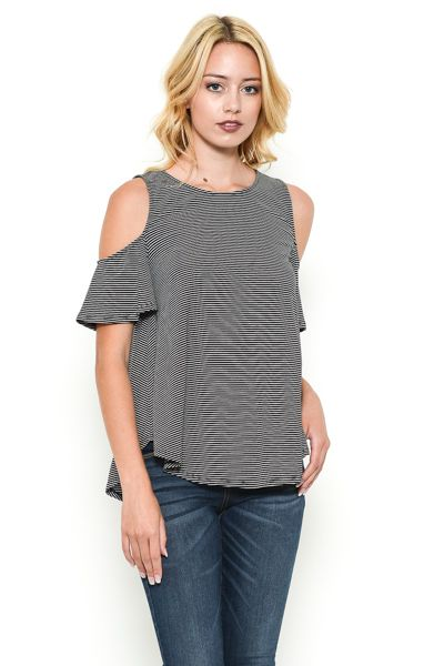Striped Cold Shoulder Top - orangeshine.com