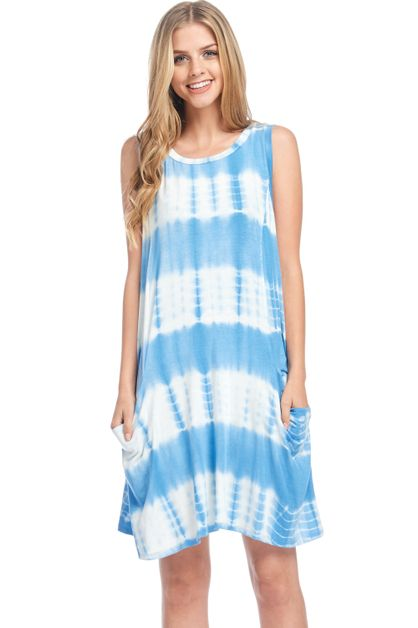 Tie Dye Swing Pocket Dress - orangeshine.com