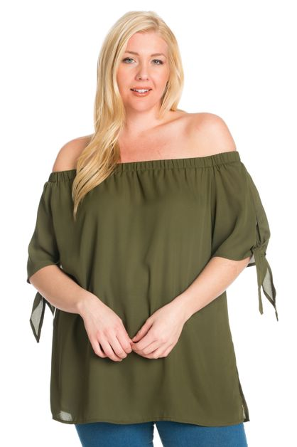 PLUS OFF SHOULDER SLEEVE KNOTS TOP - orangeshine.com