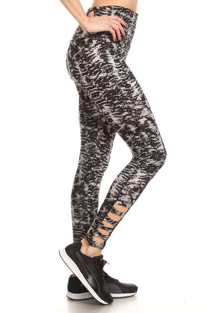 Tie Dye Cutout Cross Sport Leggings - orangeshine.com