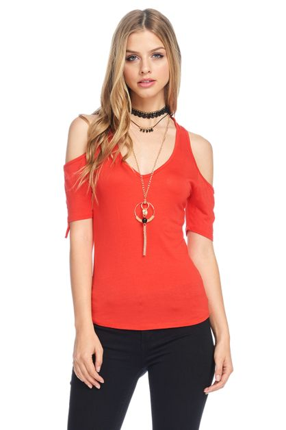 CAP SLEEVE JERSEY V NECK TOP - orangeshine.com