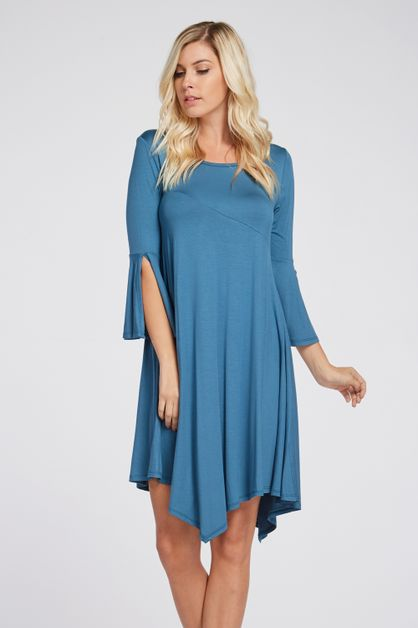 BELL SLEEVE KNIT DRESS WITH HEM - orangeshine.com