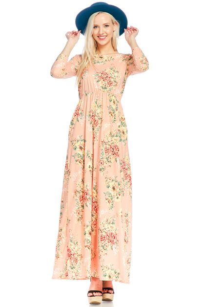 FIT AND FLARED MAXI DRESS - orangeshine.com
