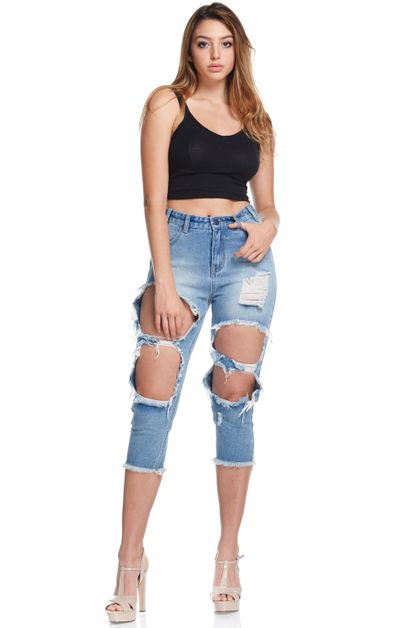 DESTROYED ANKLE BOYFRIEND JEANS - orangeshine.com