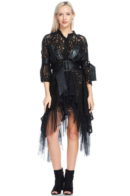 Cascading Lace Shirt Dress - orangeshine.com