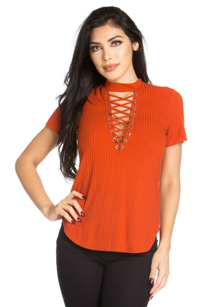 RAYON RIB SHORT SLEEVE V NECK TOP - orangeshine.com