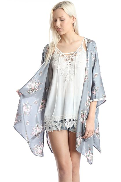Women`s Floral Light Weight Kimono C - orangeshine.com