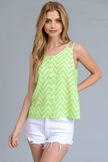 TOP NEON COLOR STRIPE PRINT - orangeshine.com