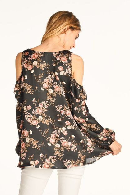 Cold Shoulder Flower Print Top - orangeshine.com
