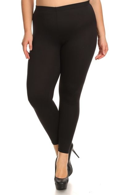 Solid Color Plus Size Leggings Brush - orangeshine.com
