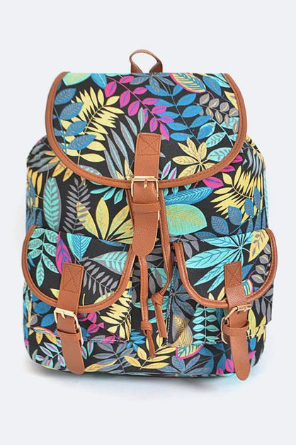 Tropical Leaf Pattern Backpack - orangeshine.com