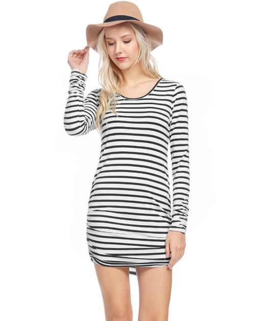 Striped tunic shirred waist sleeve - orangeshine.com